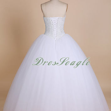 Strapless sweetheart white tulle long wedding dress,Beautiful white beading  long wedding gown,White long quinceanera dress