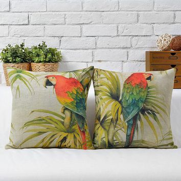 Tropical Rain Forest Birds and Flowers Throw Massager Decorative Vintage Pillows Pillow  Cover Home Decor Lover Gift