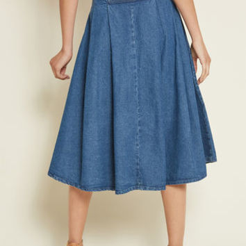 Retro Relevance Denim Midi Skirt