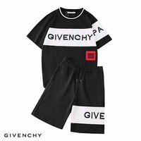 Givenchy Tide brand embroidery letters for men and women leisure sports two-piece Black
