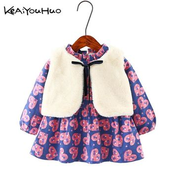 KEAIYOUHUO Winter 2017 New Cute Baby Girl Warm Cape Loving Heart Long Sleeve Christmas Princess Dress Clothes Toddler Children