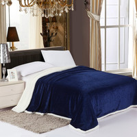 Simple Elegance Luxurious Reversible Sherpa Lining Carved Velboa Blanket - Queen (Navy)