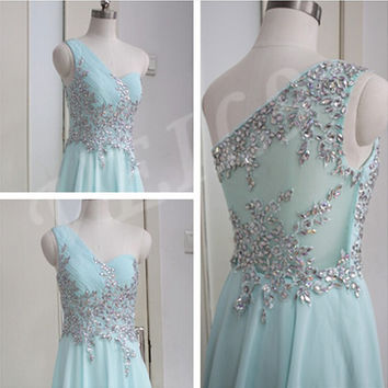 Sexy one shoulder Homecoming dress Mint Prom long dress formal occasions dress,Party dress Crystal 2015 Pageant gown Chiffon Brdesmaid Gown