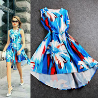 Big Flowers Gradient Digital Print Sleeveless Irregular Hem Swing Dress