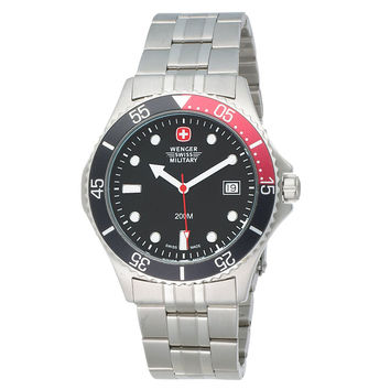 Wenger 70999 Men's Swiss Military Alpine Diver Black Dial Stainless Steel Dive Watch