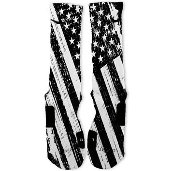Patriotic Black White USA Flag Custom Nike Elite Socks