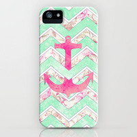 Pink Nautical Anchor Teal Floral Chevron Pattern iPhone Case by Girly Trend | Society6