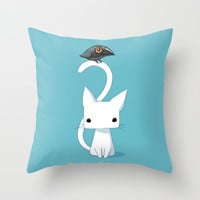 Cat and Raven Throw Pillow by Freeminds