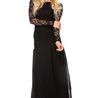 Black Lace Detailed Flared Trumpet Maxi Dress
