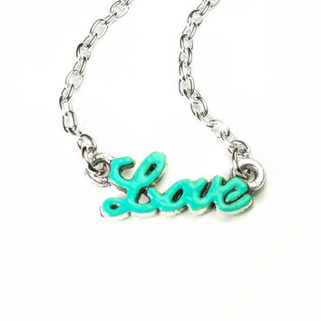 turquoise love necklace - love necklace - love jewelry - turquoise necklace - turquoise jewelry - word necklace - word jewelry - valentines