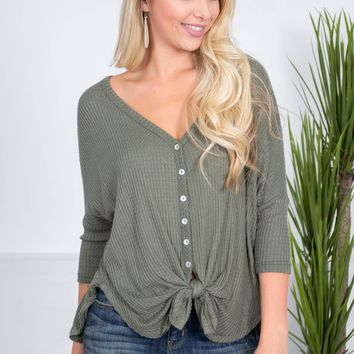 Delilah Button-Up Knot Top | Autumn Tones