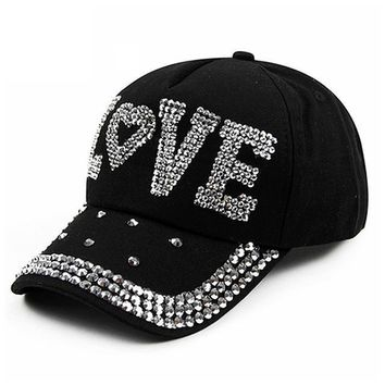 Accessories Crystal-Baseball Cap Studded Adjustable Bling Tennis Hats.