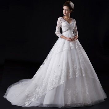 Beautiful lace beaded long sleeved 2015 new V neck Princess bride wedding dress pregnant small train = 1929443908