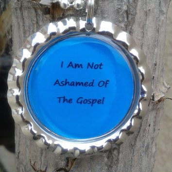 Christian jewelry,bottle cap necklace,Romans 1:16,I Am Not Ashamed Of The Gospel,handmade christian jewelry,necklace