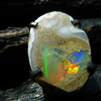 30% OFF SALE raw fire opal ring, Brazilian jewelry