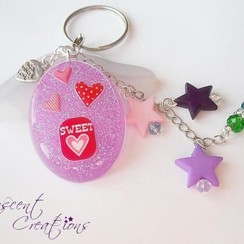 Lovely charm keychain, focal sweet purple resin piece, stars charms and glass crystals, in purple, violet, pink tones, cute women girl gift
