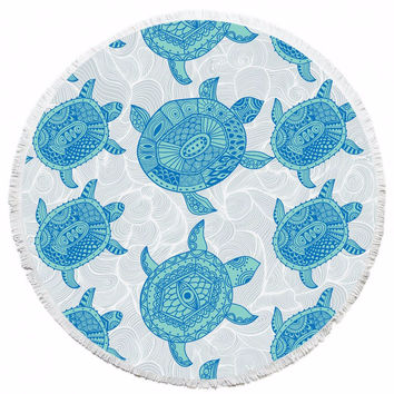 Turtle Print Round Polyester Beach Towel Throw Yoga Mat