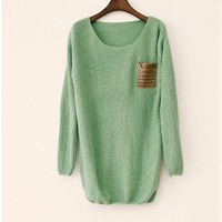 Light Green Patchwork Leather alphabet Pocket Loose Sweater  from Showmall