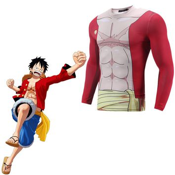 ONE PIECE Monkey D Luffy Cosplay Costume 3D Print T-shirt Japanese Anime 3D Printed T-shirt  Clothes