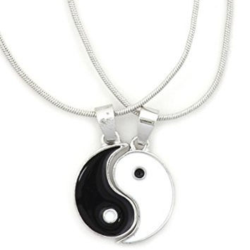 Yin Yang Medal Necklace 2 PC Set Silver Tone NR64 Black White Tao Pendant Fashion Jewelry