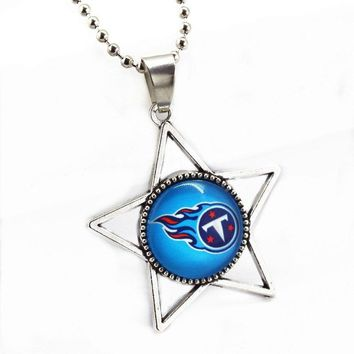 Newest 10pcs/lot Stat Glass Pendant Tennessee Titans Football Sports Team With 45cm Silver Beads Chains Necklace Jewelry
