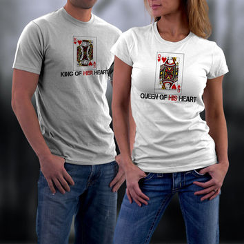 Valentines, Valentine Couples Shirts, Valentine Gifts, King and Queen of Hearts Matching Couples Shirts