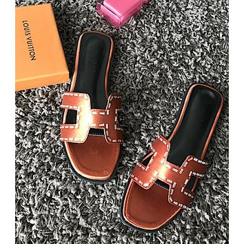 Hermes Fashion Ladies Summer H Type Shiny Crystal Diamond Satin Flat Soles Sandals Slippers Shoe Brown
