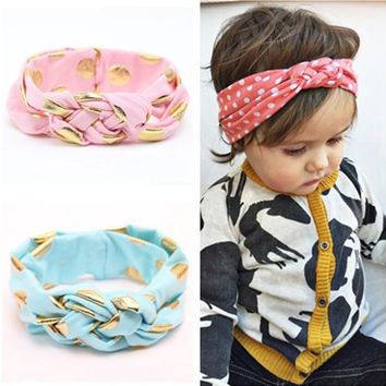Fashion Baby Woven Cross Polka Dot Knot Headbands Top Knot Baby Headwrap Girls Turban Tie Knot Headwear Hair Accessories