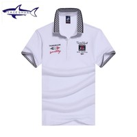Men' polo shirt Tace & Shark brand camisa polo top quality cotton breathable solid color embroidery casual shark polo shirt men