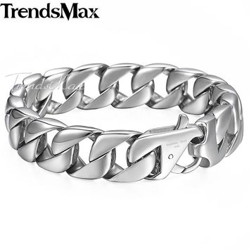 Trendsmax 14mm 316L Stainless Steel Men's Bracelet Silver Color Round Curb Cuban Chain Gift Jewelry For Men HB164