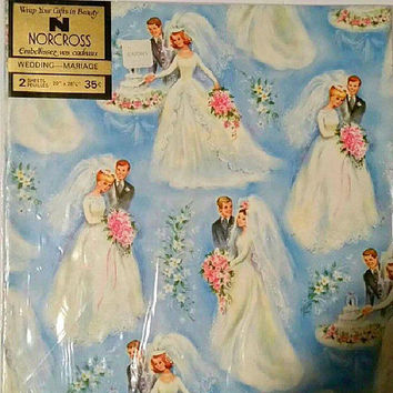 Vintage 60s WEDDING Wrapping Paper 1960s Bridal Gift Wrap EATONS Sealed UNUSED Blue Bride & Groom Marriage Gift Paper Ephemera Craft Supply