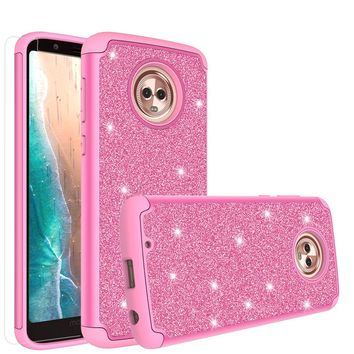 Motorola Moto G6 , Moto G6 2018 Case, Moto G6 , Moto G6 2018 Glitter Bling Heavy Duty Shock Proof Hybrid Case with [HD Screen Protector] Dual Layer Protective Phone Case Cover for Motorola Moto G6 , Moto G6 2018 - Hot Pink