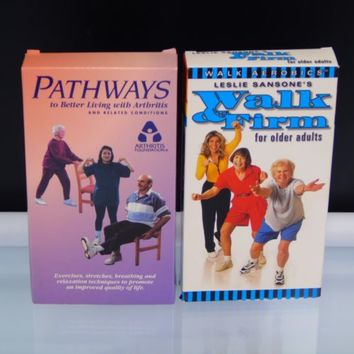 2 Vintage VHS Tapes For Older Adults Yoga for Arthritis and Aerobics Walk Firm