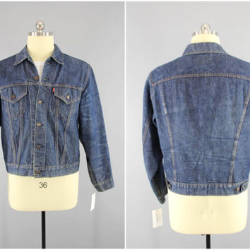 Vintage 1960s LEVI's Denim Jacket / 60s Levis Jean Jacket / Made in USA / Levi Strauss & Co. / WPL 423 / Single Stitch / 2 Pocket/ Small E
