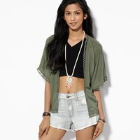 AE Open Kimono Top, Olive | American Eagle Outfitters
