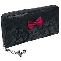 Victorian Gothic Princess Velvet Skull Flocked with Bows Zip Around Wallet