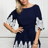 Gold Rush Playsuit Navy