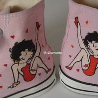 Hand Painted Betty Boop On Pink Converse Shoes COP13