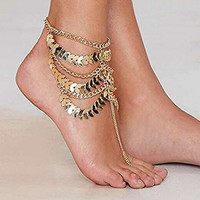 Alvak Multilayer Leaf Foot Chain Beach Ankle Bracelet Anklet(JLW68)