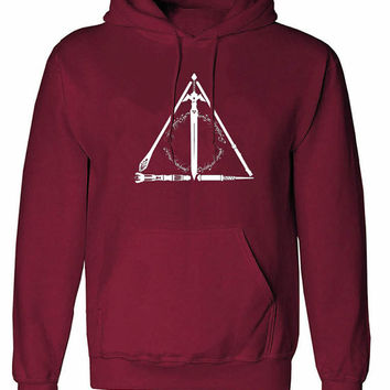 Harry Potter master of death hogwarts Deathly Hallows unisex womens mens ladies  print  Hoodie sweatshirt pullover, jumper sweater