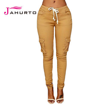 Jahurto 2016 Cargo Pants Women Fashion Pockets Patchwork Drawstring Waist Solid Slim Women Army Pants Causal Women Long Trousers