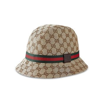 Gucci Original GG Canvas Fedora with Web Detail, Beige/ebony 200036