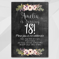 18th Birthday invitation, Watercolor Chalkboard Invitation, 1st 2nd 13th 18th 21st 30th 40th 50th, Custom invitation XA022c
