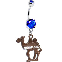 Double Blue Gem Hump Day Camel Dangle Belly Ring | Body Candy Body Jewelry