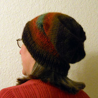 Knit Slouchy Hat, Unisex Wool Blend Striped Hipster Hat