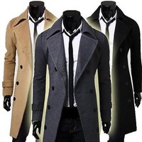 Jeansian Mens Stylish Trench Coats Long Jackets Shirts Top Double Breasted 8968