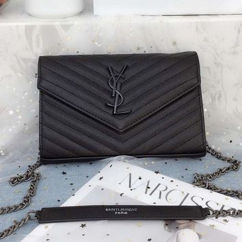 YSL High Quality Classic Fashionable Women Leather Metal Chain Shoulder Bag Crossbody Satchel Black