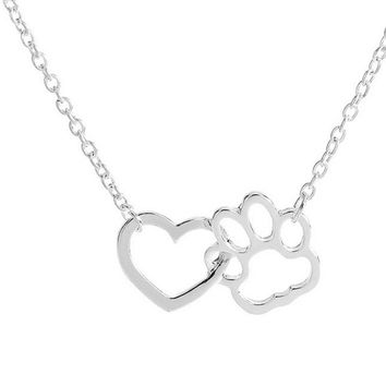 Bling-World New Hot Fashion Necklace For Women Personalized Jewelry Crystal Rhinestone Dog Paw Pendant Necklace Chain Sep8