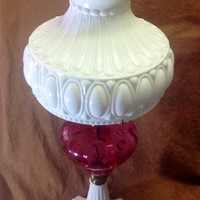 Antique Fenton Glass Cranberry Optic Dot Lamp With Aladdin Shade