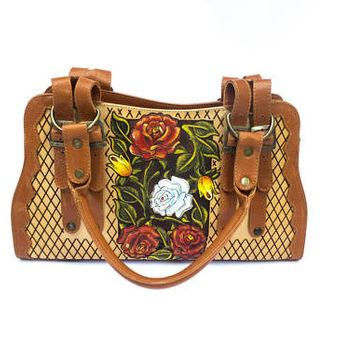 Colorful two-tone hand-painted leather bag